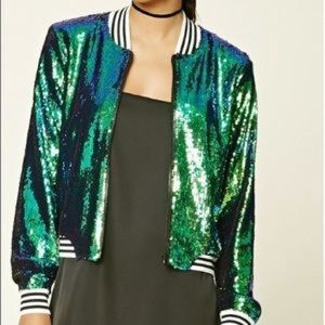forever 21 color shift mermaid bomber jacket